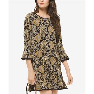 NWT Michael Kors Paisley Bell Sleeve Flounce Dress